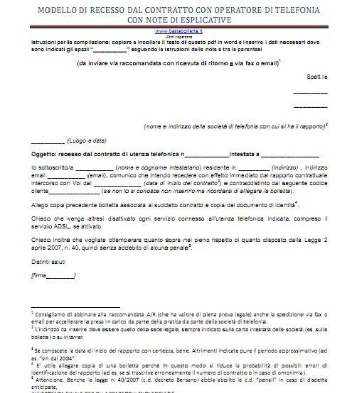 Modulo disdetta per utenze domestiche basta bollette for Disdetta contratto comodato d uso gratuito agenzia entrate